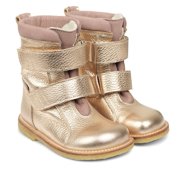 angulus tex-boot with velcro straps light copper/rose - kodomo boston. free shipping.