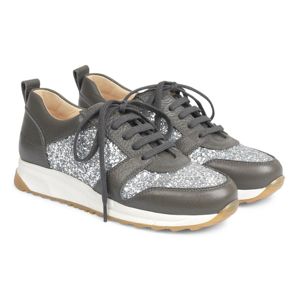 angulus sneakers dark grey/silver glitter - kodomo boston. free shipping.