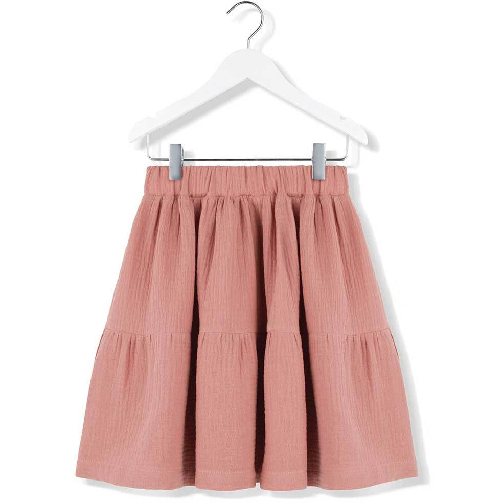 kids on the moon cloud cascade skirt in coral. european kid's clothes available at kodomo boston. fast shipping.