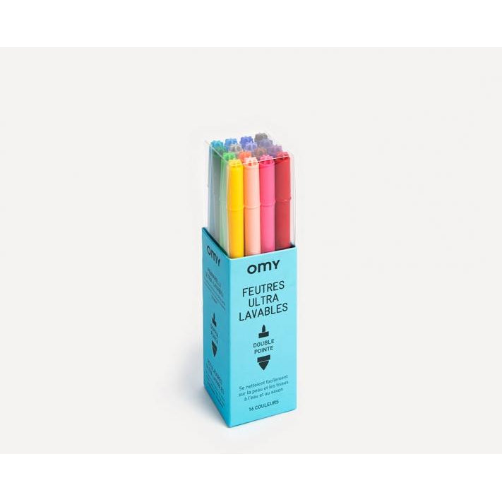 omy set of 16 ultra washable markers - kodomo boston. free shipping.