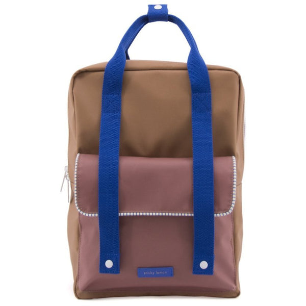 sticky lemon deluxe envelope backpack large brown/brick/blue, back to school shopping at kodomo boston. free shipping over $99