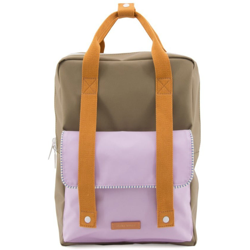 sticky lemon delux envelope backpack madame olive/gustave lilac/concierge orange - kodomo boston, kids backpacks
