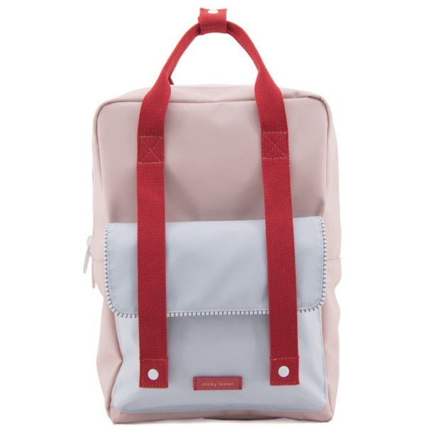 sticky lemon deluxe envelope backpack large pink/blue/red. school backpacks at kodomo boston, free shipping