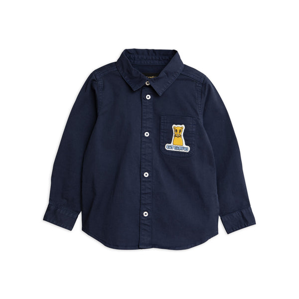 mini rodini cat campus woven shirt navy - kodomo
