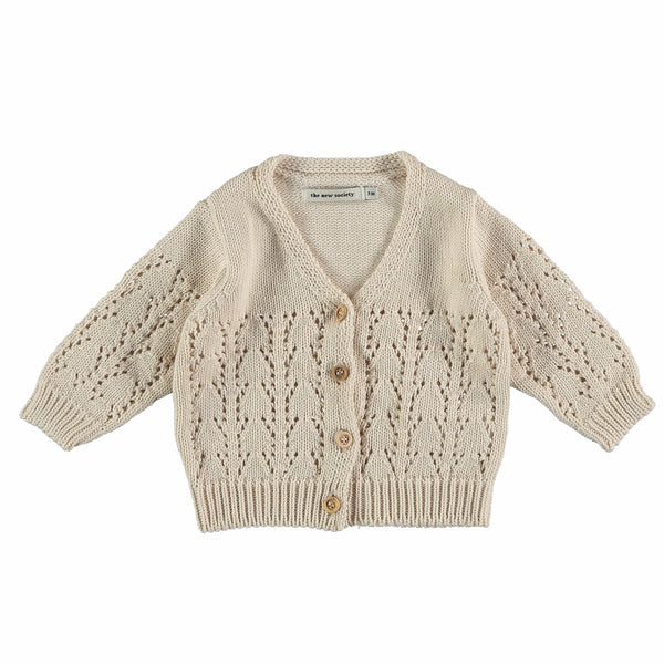 the new society sapin baby cardigan natural,  beautiful kids and tweens dresses for spring summer 2020 from the new society at kodomo boston, free shipping