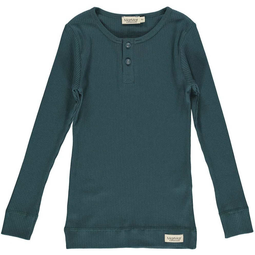 marmar copenhagen long sleeve t-shirt oily blue - kodomo boston, new marmar copenhagen fall winter collection, kids solid color tees