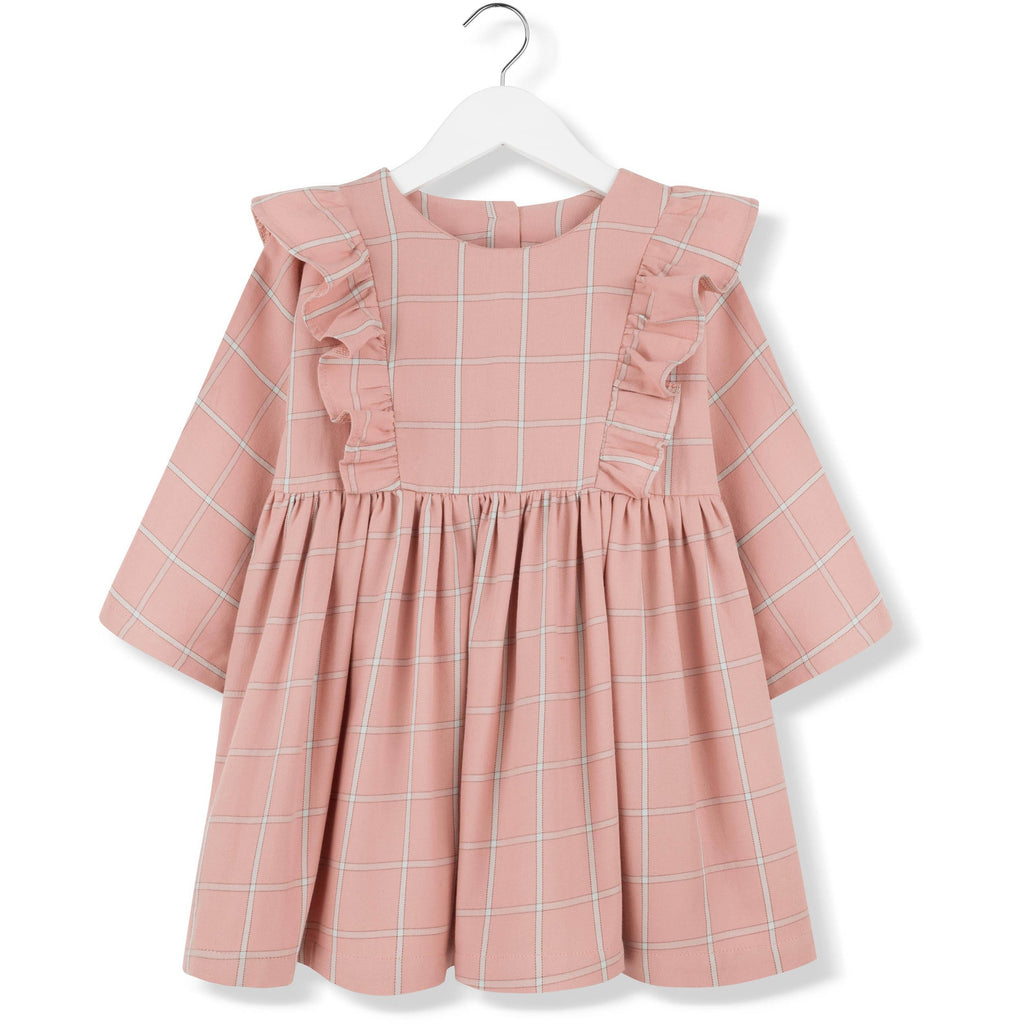kids on the moon plaid frill dress coral, girls dresses at kodomo boston free shipping