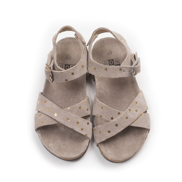 bonton crossed stars sandals taupe- kodomo boston free shipping