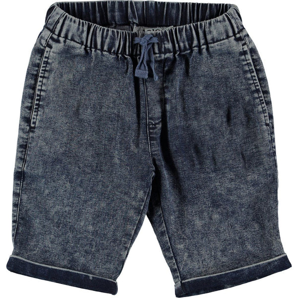 molo artis blue marled shorts, boys denim short - kodomo boston, fast shipping.