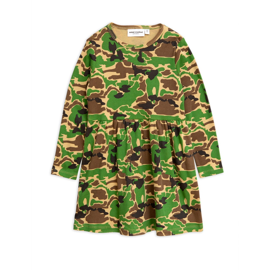 mini rodini camo long sleeve dress green - kodomo boston, fast shipping, new mini rodinii arrivals, pre spring 2020, camo print dresses
