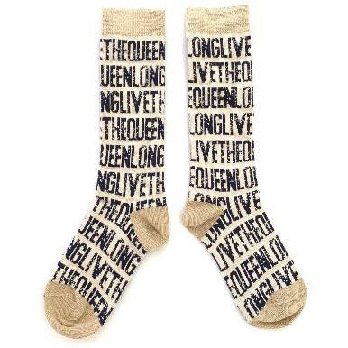 long live the queen knee socks natural, kid's organic cotton sock accessories