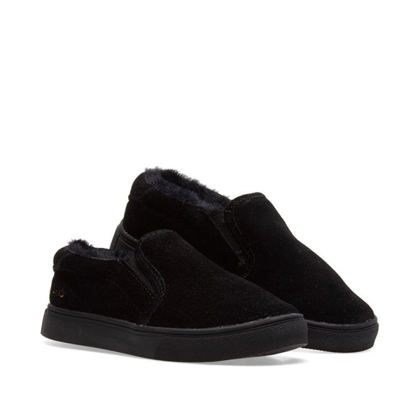 akid liv black suede with shearling