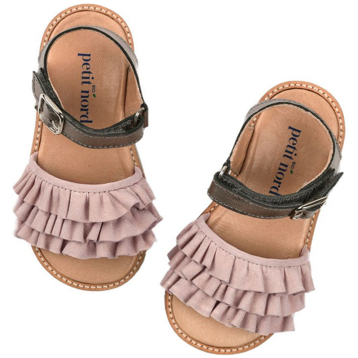 petit nord ruffles sandal dream nude - kodomo boston, summer sandals for girls, girls summer shoes, kids shoes, free shipping.