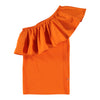 molo one shoulder ruffle rebecca top in bright orange with elasticized body for a fitted look. cool kids clothes available at kodomo boston, fast shipping.