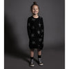 nununu star a dress black - kodomo boston, fast shipping, free shipping on orders $99, star print girls dresses.