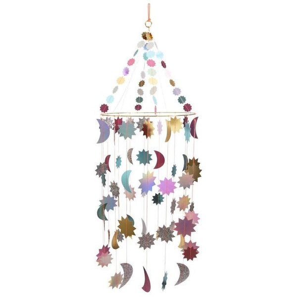 meri meri metallic moon and stars chandelier - kodomo boston, fast shipping, kids rom decorations