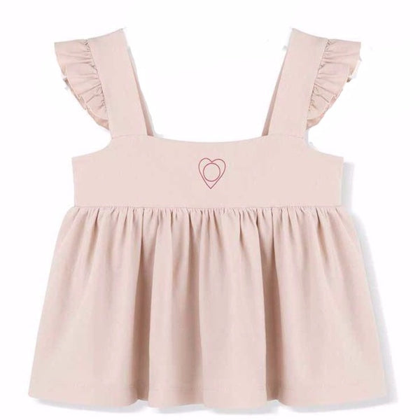 kids on the moon afterglow ruffle strap top in pink with heart chest print is loose fitting with ruffle strap detail. european kids clothes available at kodomo boston, fast shipping.