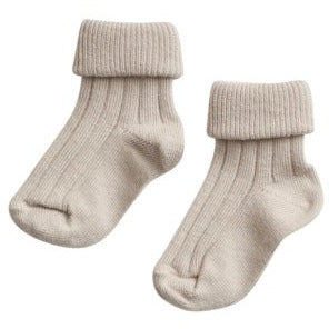 belle enfant turn top socks oatmeal marl