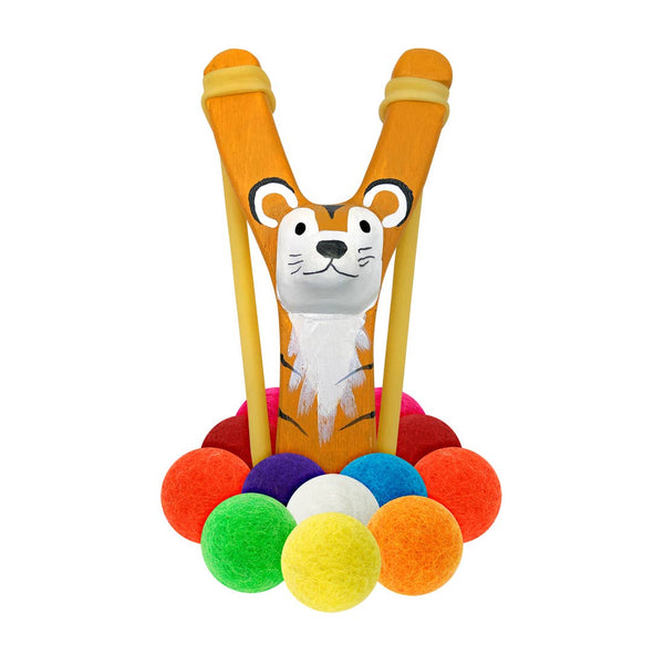 hella slingshot wooden tiger slingshot + multicolored felt ammo, outdoor toys for kids at kodomo boston free shipping