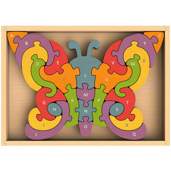 begin again butterfly a to z puzzle, alphabet education games for kids, free fast shipping at kodomo boston