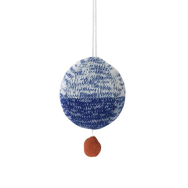 ferm living ball knitted music mobile blue - kodomo boston