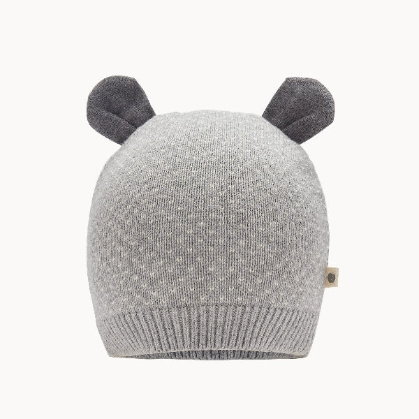 the bonnie mob acacia baby hat grey, babies knit accessories, cotton cashmere blend