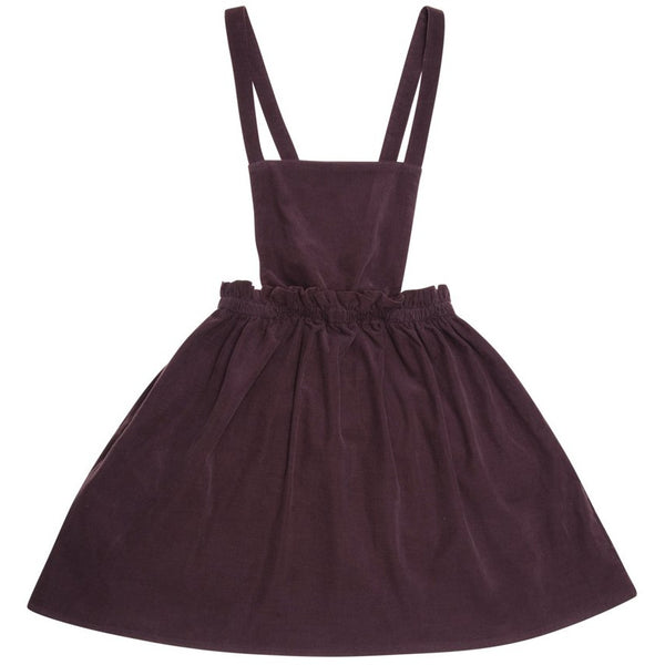 the new society allegra pinafore dress burgundy - kodomo boston, fast shipping, kids pinafore dress, corduroy dresses, burgundy color kids dress