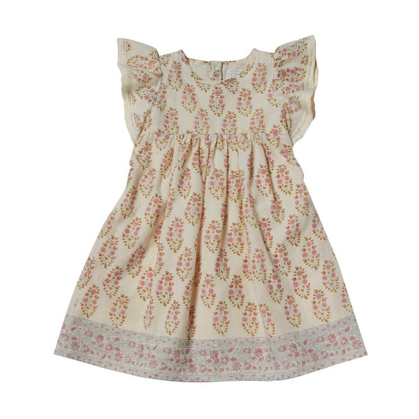 bonheur du jour amelia dress rose ecru, girls cotton dresses