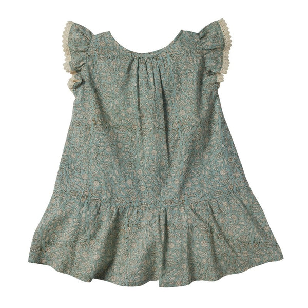 bonheur du jour anemone dress blue/green, girl's cotton floral dresses