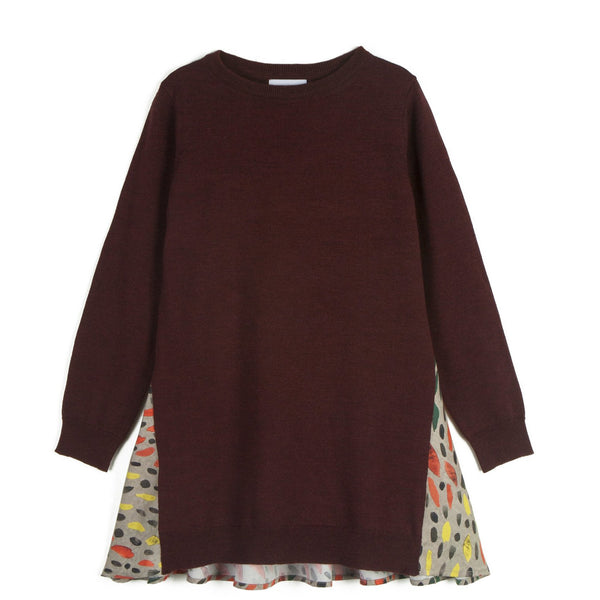wolf & rita augusta winter grass jumper, bright pattern maroon sweater top for girls, new fashions for kids at kodomo boston, fast free shipping