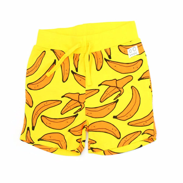 yellow banana print indikidual bermuda short. 100% organic cotton baby and kids clothing available at kodomo boston