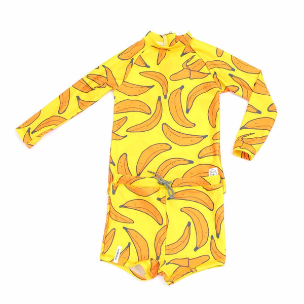 banana print sun safe top, SPF 50. baby and kids clothing available at kodomo boston.