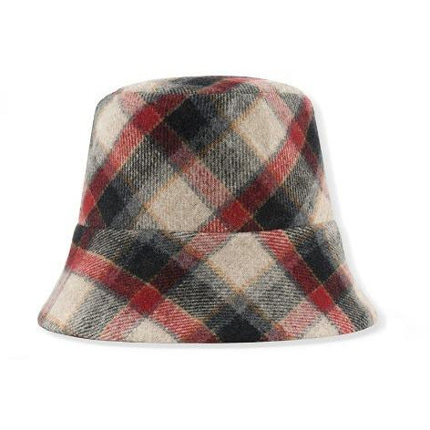 kids on the moon ruby plaid hat, children accessories, bucket hat flannel