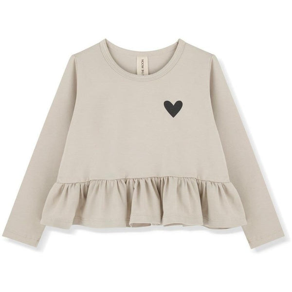 kids on the moon snowdrop frill blouse, girls tops, off-white with black heart, ruffles