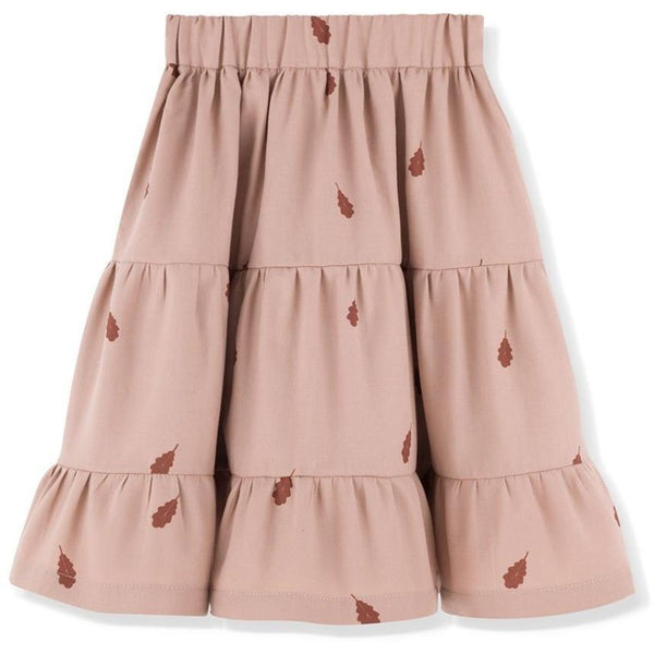 kids on the moon flounce skirt mauve leaves, girls bottoms, ruffles mid-length pink