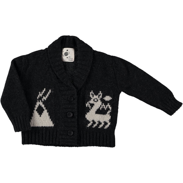 my little cozmo cardigan with llamas dark grey - kodomo boston, fast shipping, new arrivals, baby cardigans, llama sweaters
