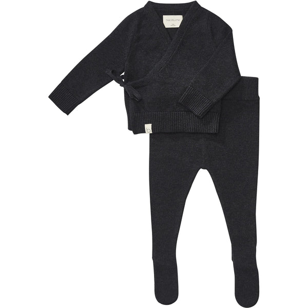 bacabuche knit infant top and footie charcoal - kodomo boston, bacabuche baby sets, fast shipping