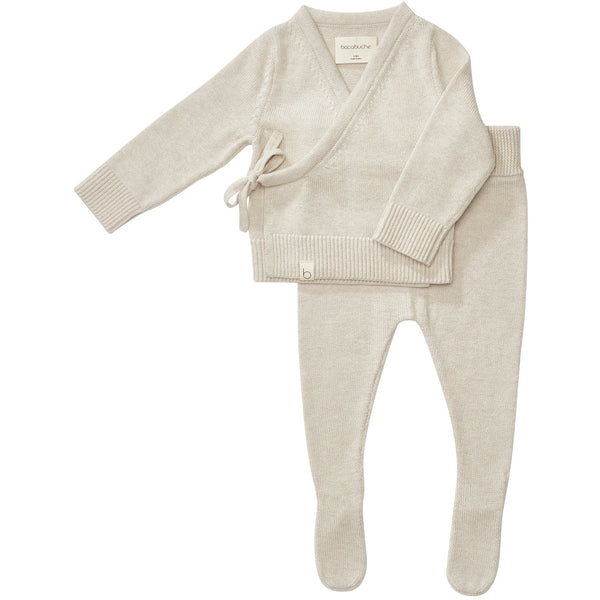 bacabuche knit infant top and footie oatmeal - kodomo boston, fast shipping