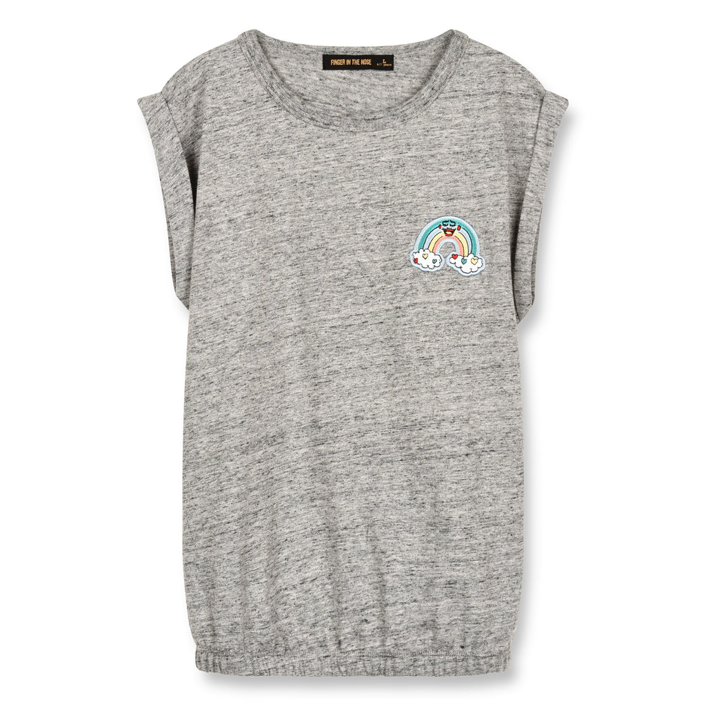 finger in the nose new spring summer girls & tween collection barrington heather grey rainbow t-shirt - free fast shipping on all orders over $99 from kodomo
