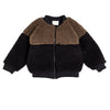 bacabuche block sherpa bomber jacket coffee/black