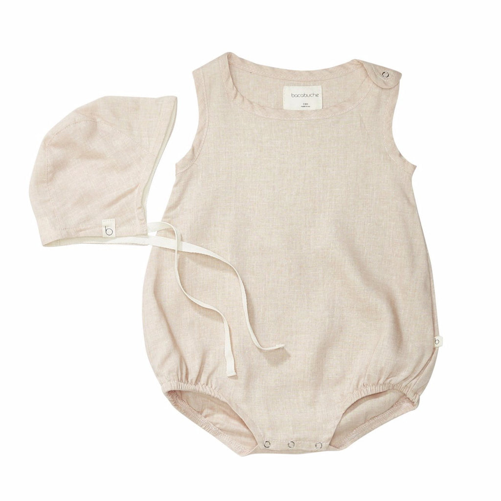 bacabuche bubble romper + bonnet suede pink - kodomo boston, fast shipping.