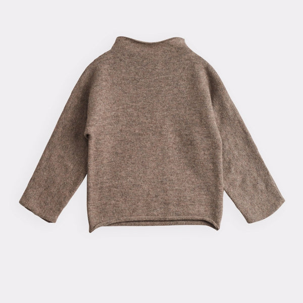 belle enfant funnel sweater mid-brown marl, sustainable soft knit tops sweaters for children baby toddler, new fall winter fashion at kodomo boston with free shipping