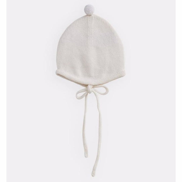 belle enfant pompom bonnet snow white, new fall winter knit cold weather accessories hats for babies kids at kodomo boston free shipping