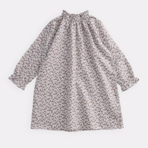 belle enfant sabine dress brown floral, classic a-line ruched dresses for girls kids fashion, new fall winter collections childrens styles at kodomo boston with fast free shipping