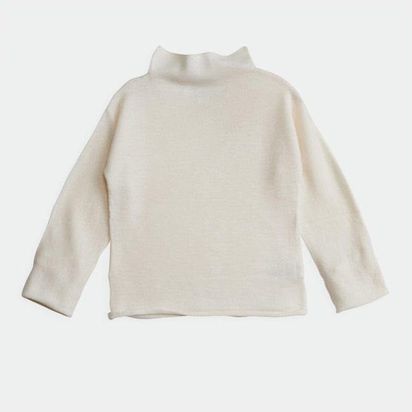 belle enfant funnel sweater snow white, neutral colors sustainable soft knit tops sweaters for children baby toddler, new fall winter fashion at kodomo boston with free shipping
