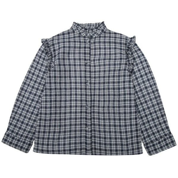 the new society bella checked blouse with frill - kodomo boston, fast shipping, new society kids collection, girls cheked blouses, girls top
