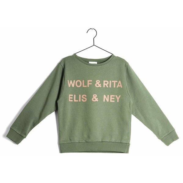 wolf & rita bernardo elis - kodomo boston, fast shipping, green kids sweatshirt