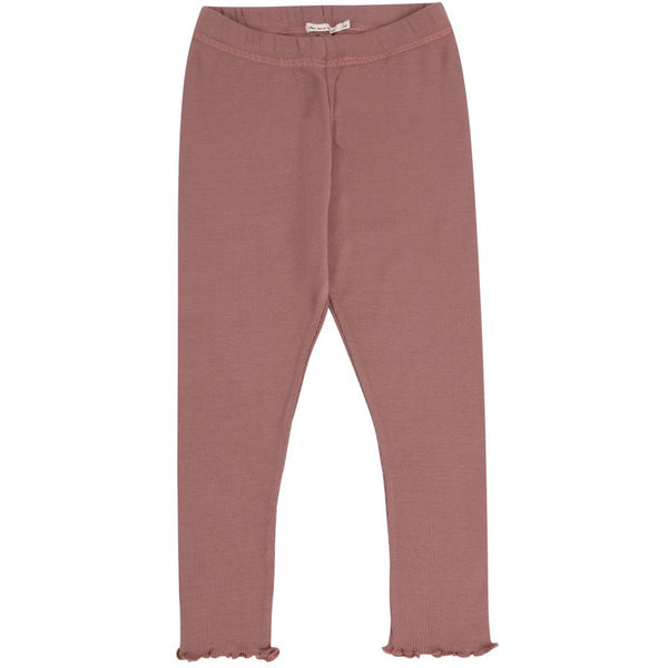 the new society betsy legging rose taupe, soft ribbed legging ruffle detail, wardrobe essentials for children at kodomo boston, free shipping