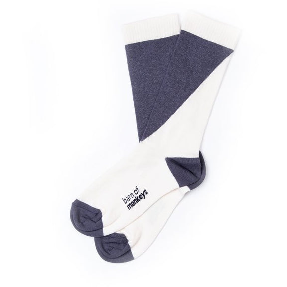 barn of monkeys diagonal jacquard socks neutral - kodomo