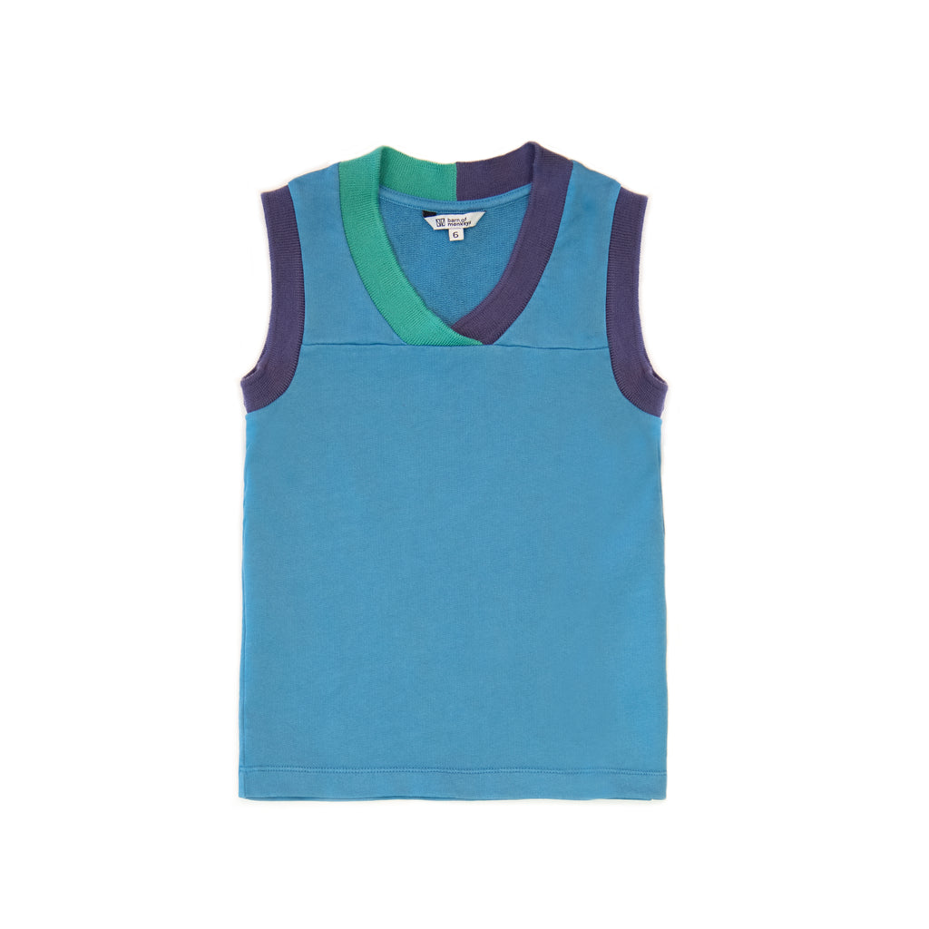 barn of monkeys new spring summer kids collection tank top with contrast neckline blue - free fast shipping on all orders over $99 from kodomo